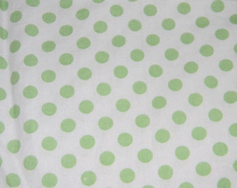 White and Light Green Dotted Crib/Toddler Bed Fitted Sheet