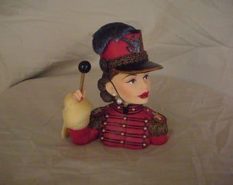 "Martina 1949 ""Drum Majorette"" mini head vase"