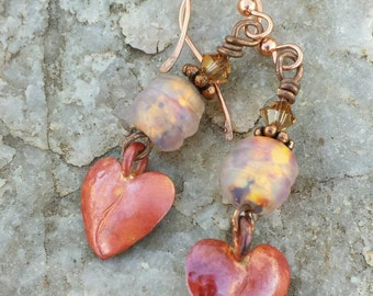 COPPER Heart Earrings - Cowgirl Jewelry - Pink Glass Earrings - Valentine's Day Gift - Rustic Jewelry - Heart of a Cowgirl Jewelry