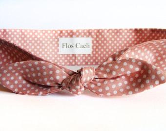 Dusty Rose Polka Dot Headband - Women Headbands - Gift for her - Pink Headband - Hair Accessories - Headbands