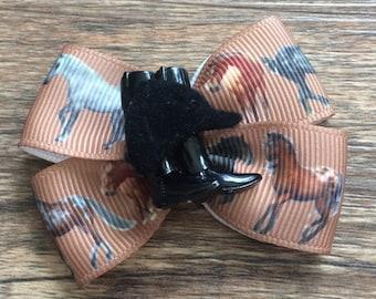 Horseback Riding Hair Bow-Equestrian Hair Bow-Horse Hair Bow-Horse Show Hair Bow-Small Equestrian Hair Bow-English Riding Hair Bow