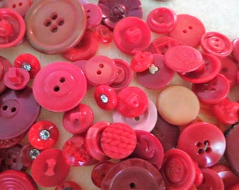 Vintage Buttons - Red Plastic Button Lot