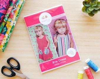 Girls Dress Pattern HARD COPY Paper Sewing Pattern and Tutorial for Eva Dress Reversible Tie Top Dress Pattern.