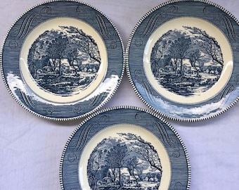 "Set Of 3 Currier and Ives 10"" Blue Dinner Plates - The Old Grist Mill - Nice"