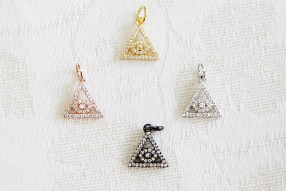 CZ Micro Pave 13mm Evil Eye in Triangle  Charm with Jump Ring