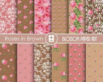 Digital Paper Brown Floral Scrapbooking, Digital Papers, Brown & Pink Papers - Vintage Designs - 1778