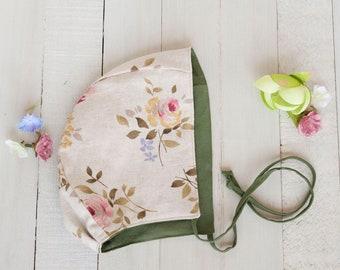 Floral Baby Bonnet, Baby Bonnet Girl, Avocado Green Bonnet, Floral Linen Bonnet, Reversible Bonnet, Classic Brimless Bonnet, Summer Bonnet