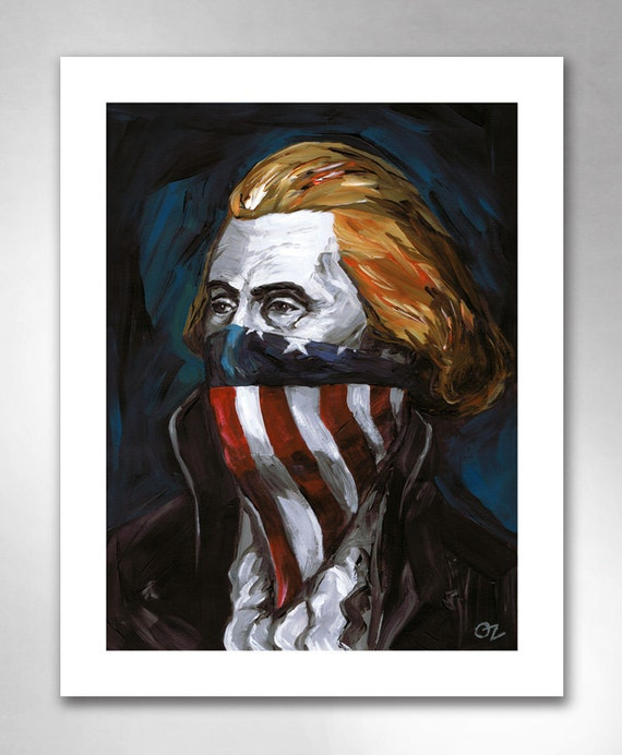 THOMAS JEFFERSON Rebel Writer American Art Print 11x14 by Rob Ozborne