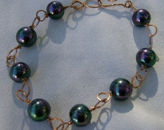 Peacock Bead Bracelet - Wire Wrapped Copper with Beads by JewelryArtistry - BR456