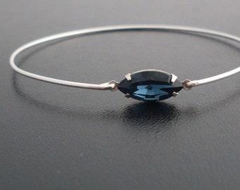 Deep Blue Rhinestone Bracelet, Anna - Silver, Dark Blue Bracelet, Dark Blue Bangle Bracelet, Dark Blue Jewelry, Dark Blue Rhinestone Jewelry