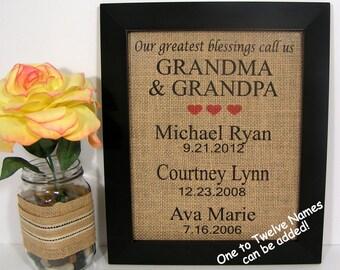 Personalized Gift For Grandma and Grandpa,Personalized Anniversary Gift For Grandparents,Our Greatest Blessings Call Us Grandma and Grandpa