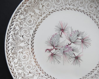 Lifetime China Co. Dinner Plates Set // Mid Century Modern Set of Four Dinner Plates More Available Pink Gray Pine Cone Pattern Gold Trim