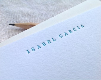 Personalized letterpress stationery - Isabel - Set of 25 cards & envelopes
