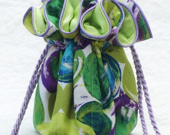Bubbles Pouch for Jewelry in lime, purple and blue