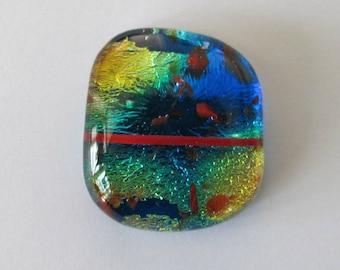 Translucent Calypso Blue Dichroic Glass Focal Cabochon