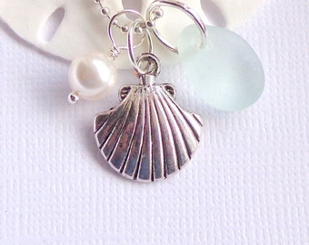 Seafoam Sea Glass Jewelry Seashell Necklace Sea Glass Jewelry Beach Glass Necklace