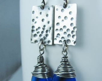 Dimpled Sterling Silver Rectangles with Wire Wrapped Royal Blue Czech Glass Teardrops