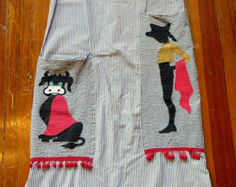 SALE  OOAK 50s Seersucker Mexican Dress with Cow/Bullfighter