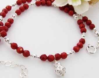 Mini Goddess (CHILDREN, Kids Jewelry) Delicate Red Coral and Sparkly Silver Necklace