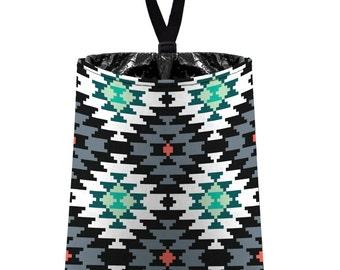 Car Trash Bag // Auto Trash Bag // Car Accessories // Car Litter Bag // Car Garbage Bag - Aztec Tribal Navajo - Grey Black Mint Coral