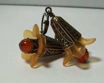 Lucite Flower Earrings. Orange and Carnelian Earrings. Vintage Inspired Lucite Earrings. Lucite and Stone.