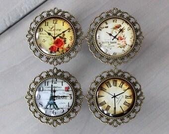 Vintage Clock Drawer Knobs - Cabinet Knobs - dresser knobs MORE designs available