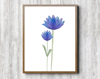 Instant Download - Watercolor Flower Printable - Office Wall Art - Girls Room Decor Poster - Nursery Flower Art - Purple / Blue Art