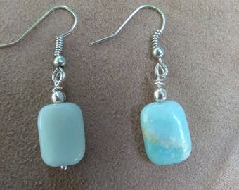 Blue Amazonite Crystal Earrings