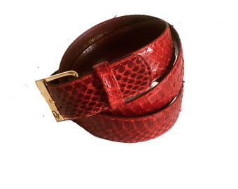 Christian Dior Red Snakeskin Belt
