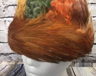 Vintage Pheasant Feather Hat Women's NY Pollack Wool