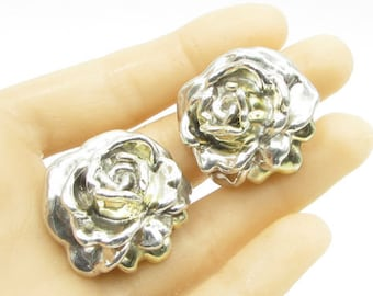 925 sterling silver - large floral rose clip - on earrings - e1075