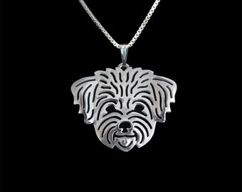 Maltese (in puppy/pet haircut) - sterling silver pendant and necklace