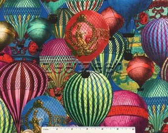 HOT AIR BALLOONS Vintage Style Rich Victorian Cotton Fabric by the Yard, Half Yd, or Fat Quarter Montgolfier Sky Basket Flying Aerial