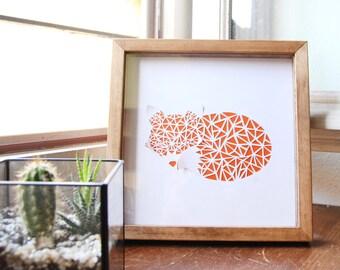 Tableau Sleeping fox papier découpé blanc, papier sur fond coloré, fait main, cadre 20x20cm.