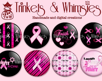 Breast Cancer Awareness 125-32 Pink Ribbon, 1 inch Flat Back Buttons