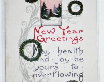 P-103 Vintage B. Bergman New Years Greetings Postcard With Divided Back and Postmarked