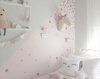 Wall Dots Nursery Decor, Gold Dot Wall Decals, Gold Vinyl Wall Dots, 2 inch Peel and Stick Wall Dots to create a Nursery Dot Wall Pattern