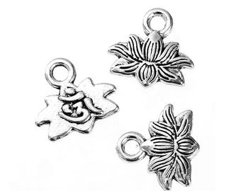 charms lotus flowers antique silver 11mm x 10mm in packs of 5/10/20 units B49