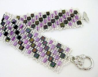 Peyote Bracelet  / Cubed Bracelet / Seed Bead Bracelet / Magenta Plum Silver  / Beaded Bracelet / Beadwork / Geometric Bracelet