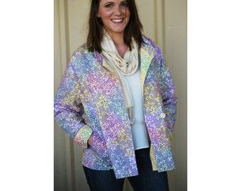 Floral Womens Jacket, Batik Cotton Jacket, Reversible Floral Jacket, Batik Slouch Jacket, Handmade Cotton Jacket