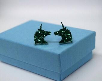 Unicorn Earrings, Emerald, Glitter Ear Studs, Magical Jewellery, Fantasy Gifts, Handmade, Horse Owner, Princess, Birthday Gift, Gift for Her