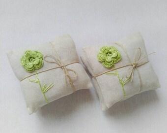 Lavender sachets, set of 2,  wedding favors, crochet favors, lavender pillows, lavender fragrances, crochet sachet lavender