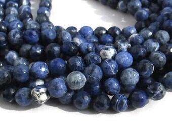 Faceted Sodalite, 8 mm Beads, Indigo Navy Sodalite, Blue Stone Beads,