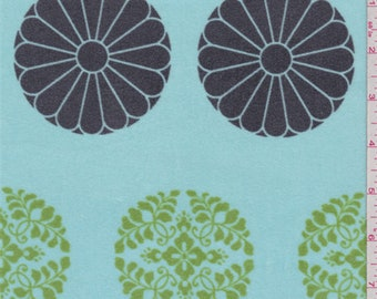 Spa Blue Floral Velveteen, Fabric By The Yard