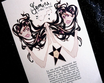 PRINT: Sign of the Zodiac Gemini (Zodiac Sign, Zodiac Constellation Gemini)