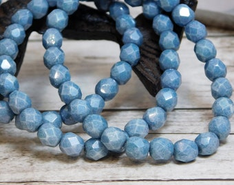 6mm - Czech Glass Beads - Fire Polished Beads - Round Beads - 6mm Beads - Blue Fire Polished - Blue Beads - 25pcs (B655)