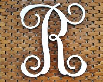 "Letter ""R"" 14-20 Inch Wood Script Monogram. Wood Monogram."