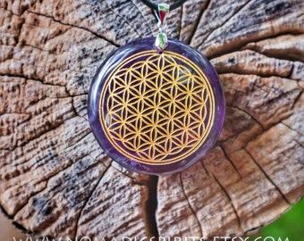 Amethyst Flower of life Pendant with adjustable necklace (comes with necklace)