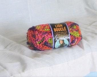 Boucle, Lion Brand, Lion Boucle, Gelato 207, Lime, Orange, Pink, Purple, destash