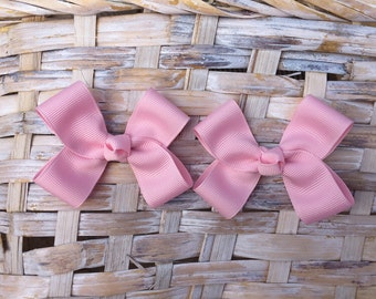 Baby Pink Hair Bows,Pigtail Hair Bows,Baby Hair Bows,Toddler Hair Bows, 3 Inch Wide Hair Bows,Allogator Clip Bows,Birthday Party Favors